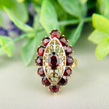 Load image into Gallery viewer, Vintage garnet navette ring in yellow gold