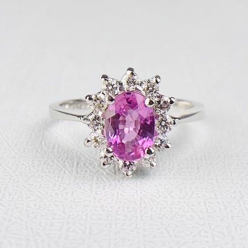 Pink Sapphire and diamond cluster ring in 14k white gold