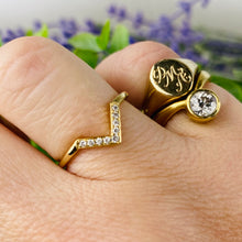 Load image into Gallery viewer, Diamond chevron ring in 14k yellow gold