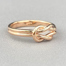 Load image into Gallery viewer, Rose gold lovers knot ring