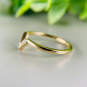 Diamond chevron ring in 14k yellow gold