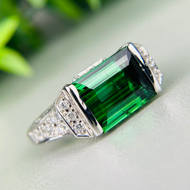 Estate green tourmaline and diamond ring in platinum
