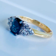 Load image into Gallery viewer, Sapphire and diamond ring in 14k yellow gold