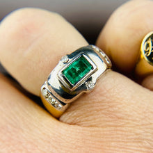 Load image into Gallery viewer, 18k yellow gold emerald and diamond ring