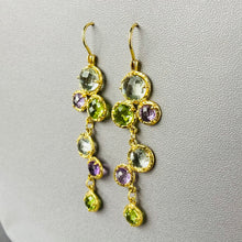 Load image into Gallery viewer, Blue topaz, amethyst, and peridot droplet earrings in 14k