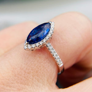 Sapphire and diamond navette in 14k white gold