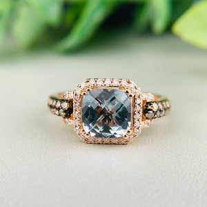 Aquamarine and diamond ring in 14k rose gold by Effy