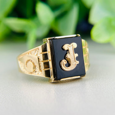 Vintage onyx letter J ring in yellow gold