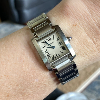 Cartier Tank Francaise watch with box and papers