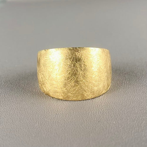 RESERVED: PAYMENT 2 OF 3:  14k yellow gold wide brushed cigar band