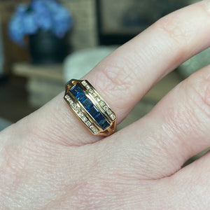 Sapphire and diamond ring in 14k