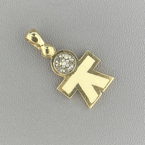 Diamond and enamel boy charm in yellow gold