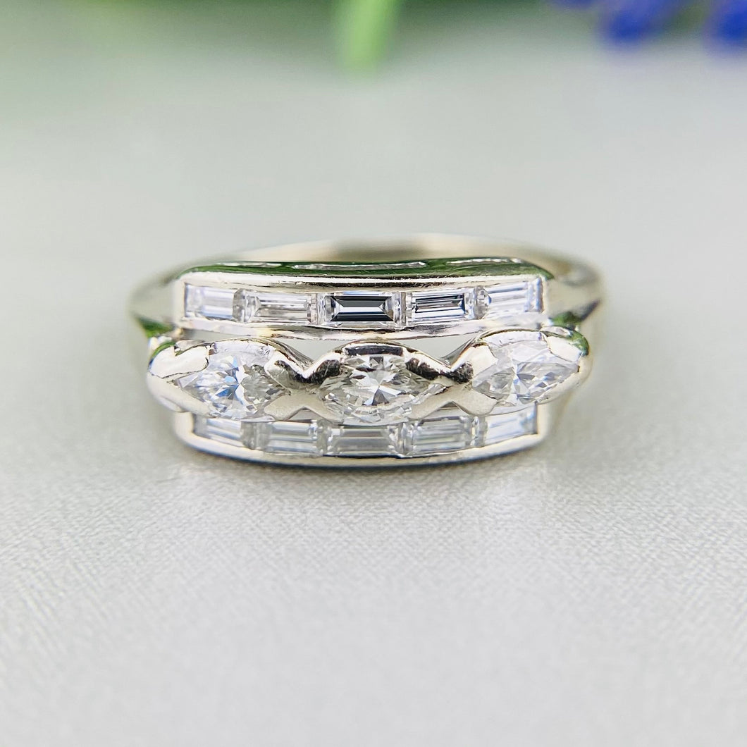 Vintage diamond wide band ring in 14k white gold