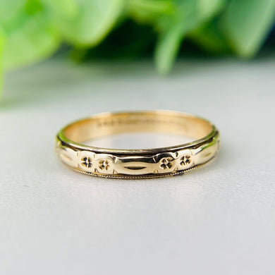 14k yellow gold vintage patterned band by Artcarved