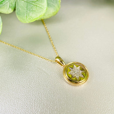 Diamond star necklace in 14k yellow gold