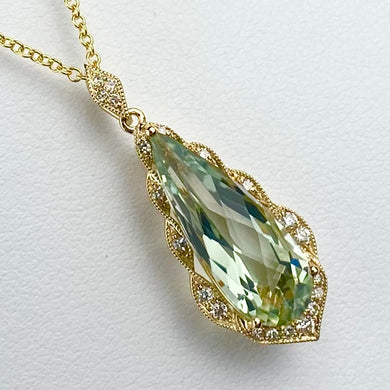 Prasiolite and diamond necklace in 14k yellow gold