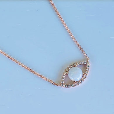 RESERVED: PAYMENT 2 OF 6: Opal and diamond necklace in 14k rose gold by Effy