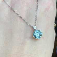 Load image into Gallery viewer, Aquamarine and diamond necklace in white gold