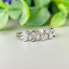 Load image into Gallery viewer, Diamond laurel leaf ring in 14k white gold