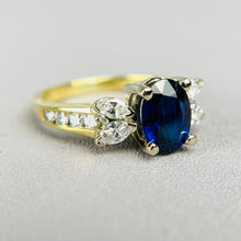Load image into Gallery viewer, Sapphire and diamond ring 18k yellow gold