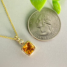 Load image into Gallery viewer, Citrine and diamond necklace in 14k yellow gold