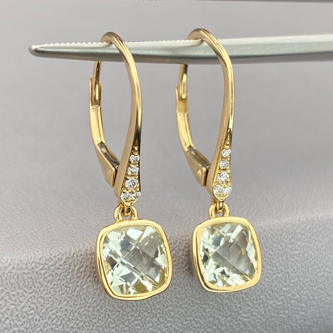 Prasiolite and diamond earrings in 14k