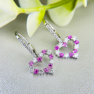 Pink sapphire and diamond heart earrings