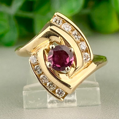 Estate rhodolite garnet and diamond ring in 14k yellow gold