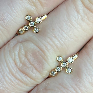14k yellow gold diamond cross huggies