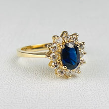 Load image into Gallery viewer, Sapphire and diamond cluster ring in 14k yellow gold