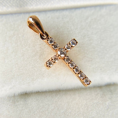 Small Diamond cross in rose gold
