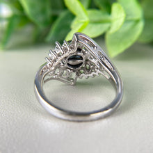 Load image into Gallery viewer, Pearl and white topaz ring in white gold