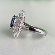 Load image into Gallery viewer, Sapphire and diamond halo ring in platinum