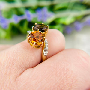 Smokey Quartz and citrine moi et toi ring in yellow gold