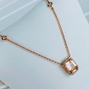 Morganite and diamond necklace in 14k rose gold by Effy