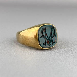 Antique bloodstone M signet in yellow gold