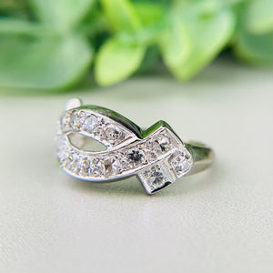 Vintage single cut diamond ring in 14k white gold