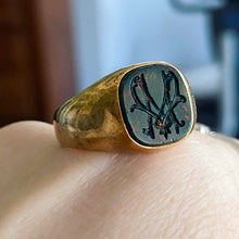Load image into Gallery viewer, Antique bloodstone M signet in yellow gold