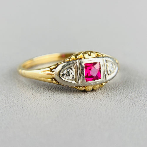 Vintage lab ruby and diamond ring in yellow gold