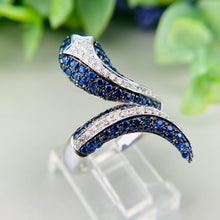 Load image into Gallery viewer, Sapphire and diamond snake ring in 14k white gold by Effy