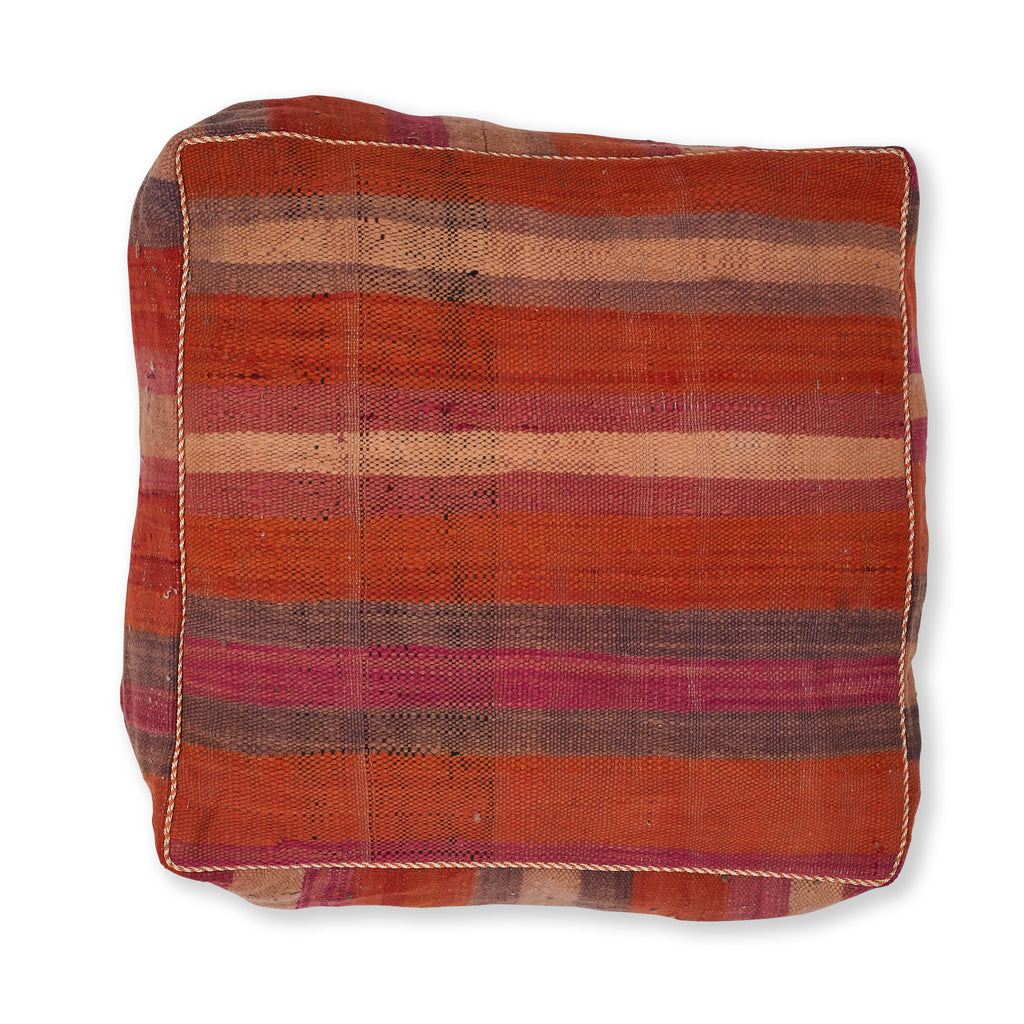 Vintage Fabric Moroccan Pouf - Striped