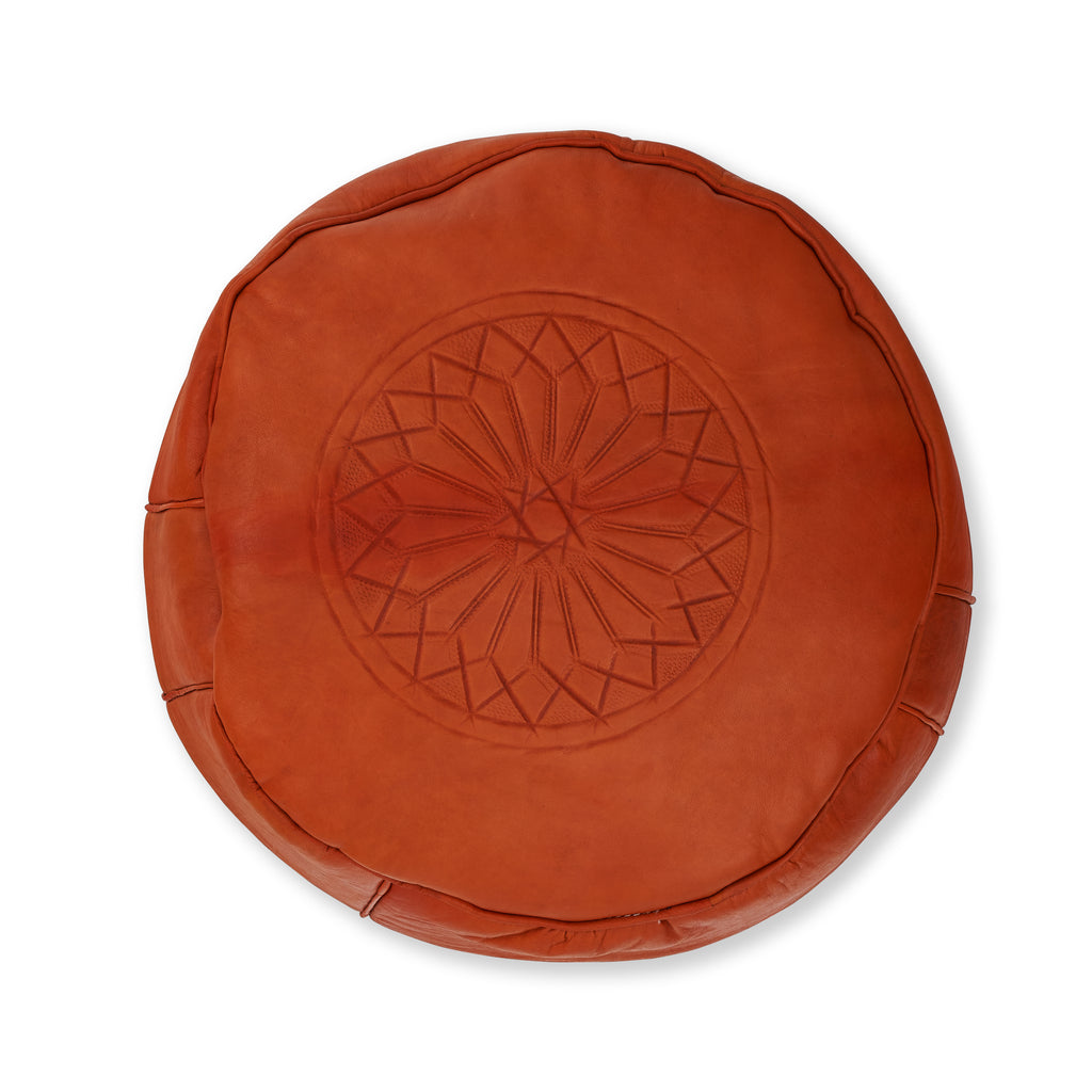 Leather Moroccan Pouf - Medium Orange with Pattern