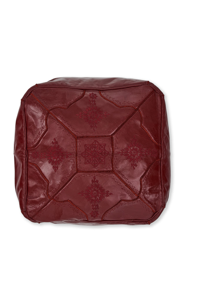 Leather Moroccan Pouf - Square