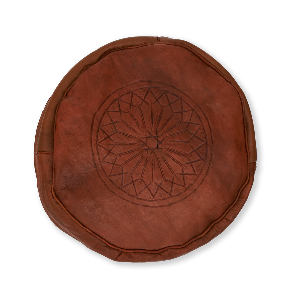 Leather Moroccan Pouf - Small Brown with Pattern