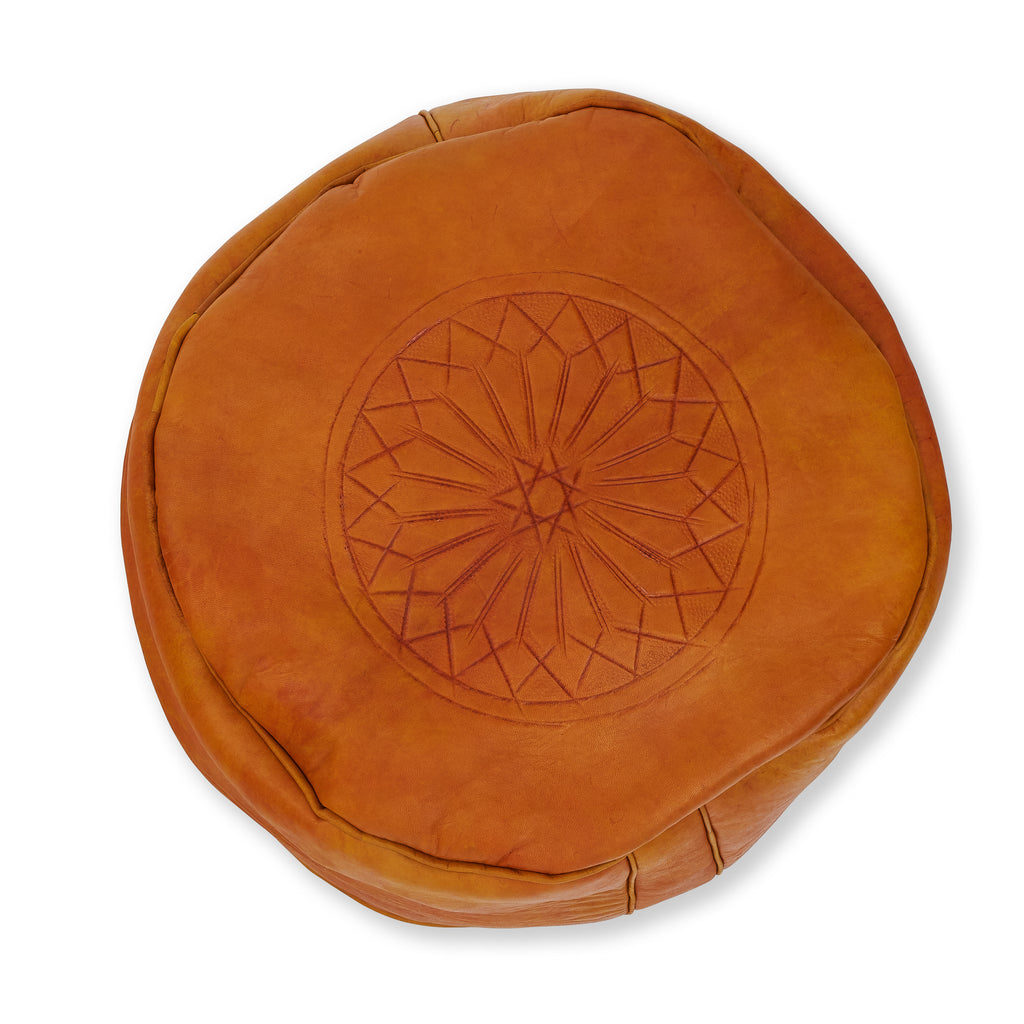 Leather Moroccan Pouf - Large Mustard with Print