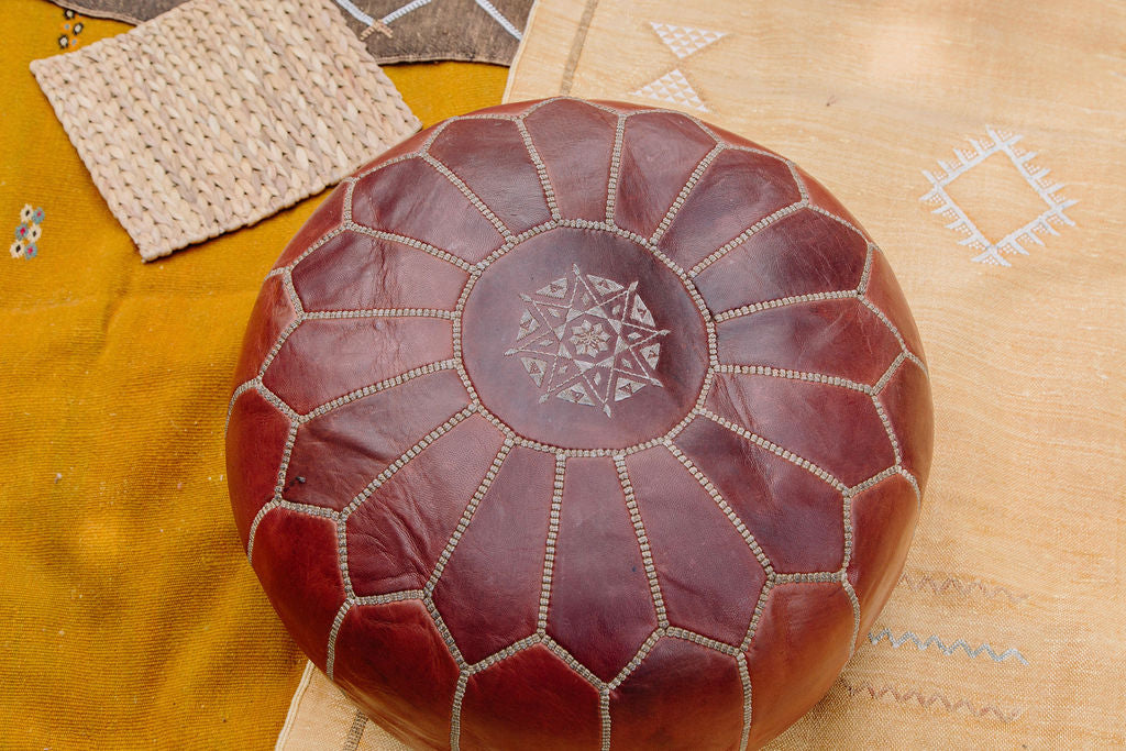 Vintage Leather Moroccan Pouf - Large Dark Brown with Stitching