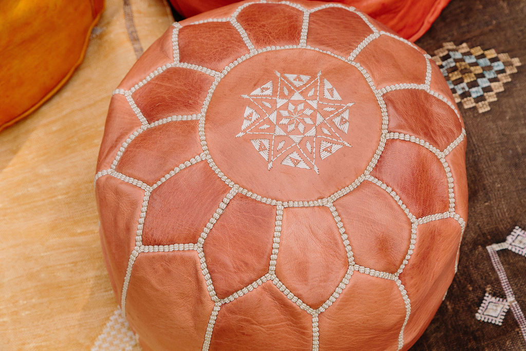 Leather Moroccan Pouf - Large Tan with Stitching