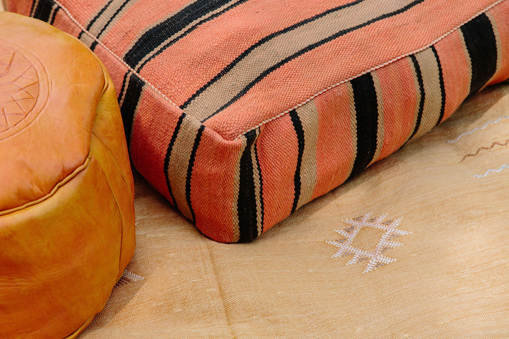 Vintage Fabric Moroccan Pouf - Orange