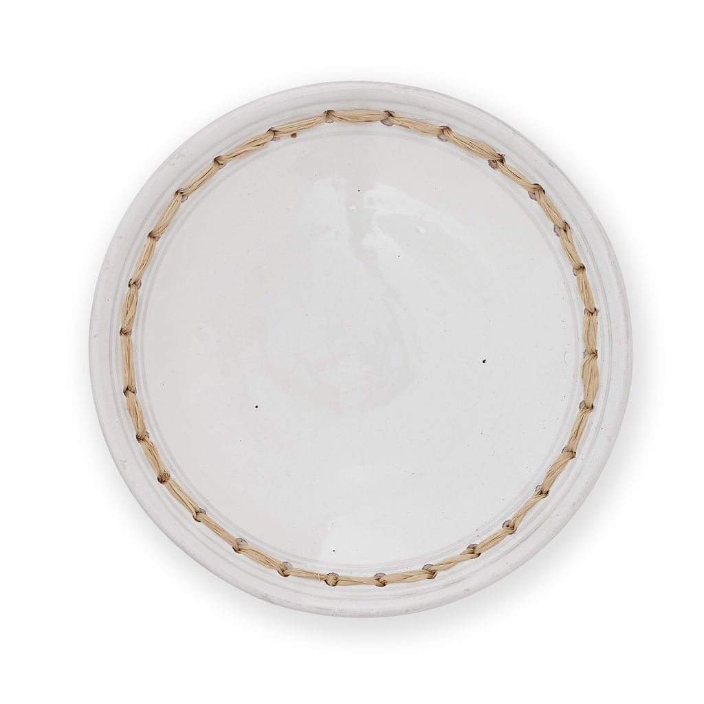 White Side Plate - Rattan