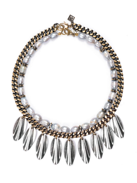 Fredrick Prince Arezzo Grey Pearl Mixed Meta Fringe Necklace
